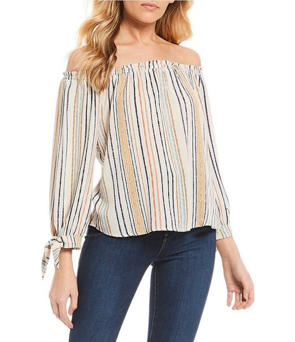 JOLT レディース シャツ トップス Stripe Off Shoulder Long Sleeve Top Natural