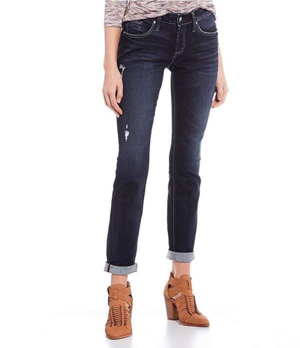 シルバー ジーンズ レディース デニムパンツ ボトムス Mid Rise Boyfriend Rolled Cuff Jeans Indigo