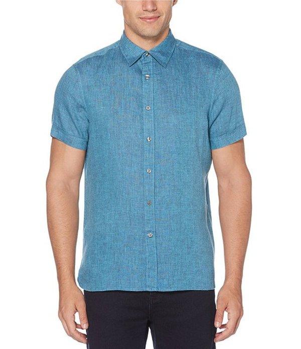 ペリーエリス メンズ シャツ トップス Solid Untucked Short-Sleeve Linen Woven Shirt Malibu Blue