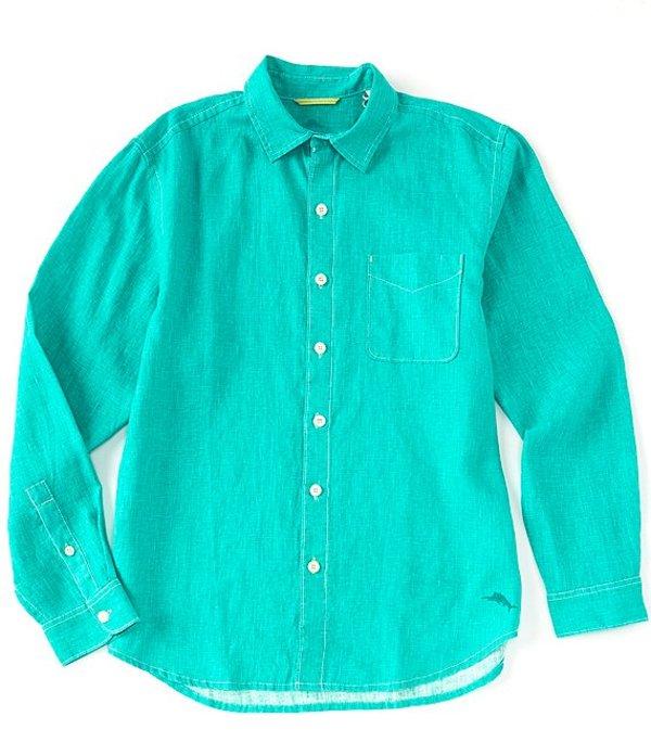 トッミーバハマ メンズ シャツ トップス Sea Glass Breezer Long-Sleeve Solid Woven Linen Shirt Aqua Aloha