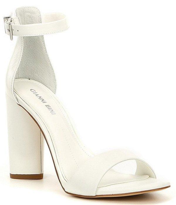 ジャンビニ レディース サンダル シューズ Joenah Two Piece Ankle Strap Block Heel Dress Sandals White