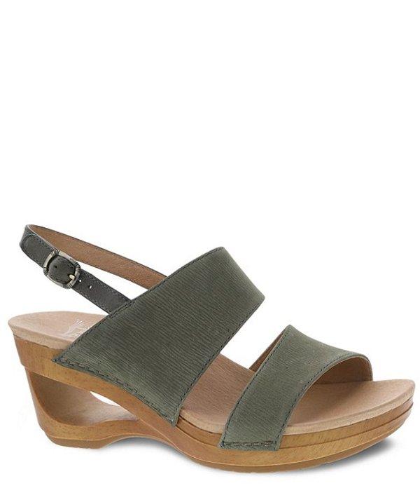 ダンスコ レディース サンダル シューズ Tamia Textured Leather Wedge Sandals Sage