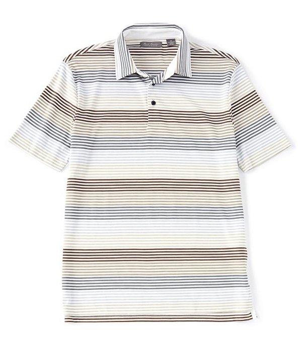ダニエル クレミュ メンズ シャツ トップス Daniel Cremieux Signature Multi-Stripe Short-Sleeve Polo Shirt Stone