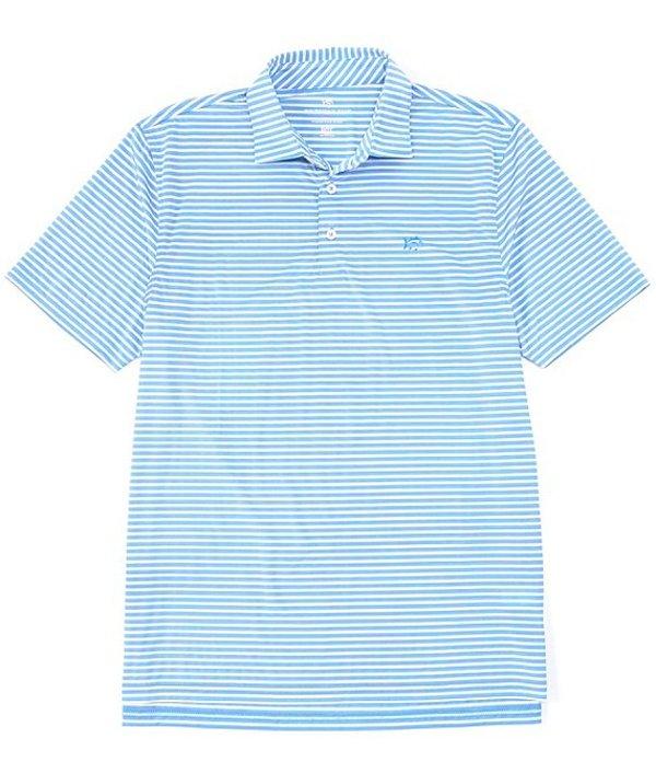 サウザーンタイド メンズ シャツ トップス Bimini Stripe Performance Stretch Short-Sleeve Polo Shirt Hurricane Blue