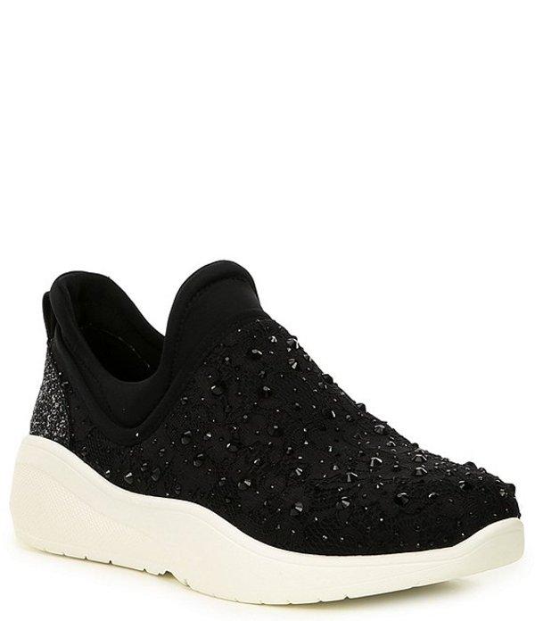 アントニオ メラーニ レディース スリッポン・ローファー シューズ Jaxtyn Hotfix Lace and Jewel Embellished Sneakers Black