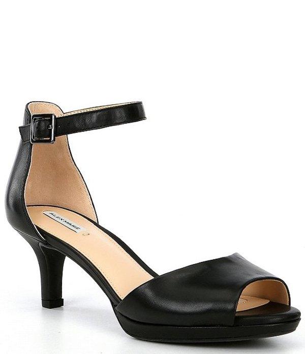 アレックスマリー レディース サンダル シューズ Bevali Leather Peep Toe Dress Sandals Black