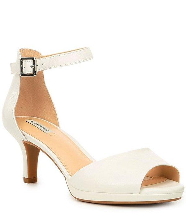 アレックスマリー レディース サンダル シューズ Bevali Leather Peep Toe Dress Sandals White