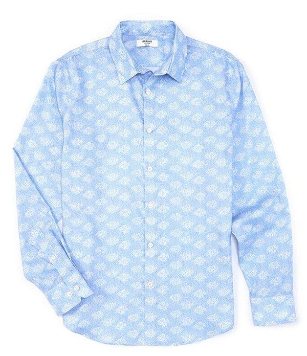 ムラノ メンズ シャツ トップス Slim-Fit Leaves Print Long-Sleeve Woven Shirt Light Blue