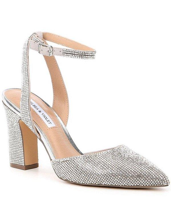 チェルシーアンドバイオレット レディース ヒール シューズ Mary Rhinestone Embellished Pointed Toe Pumps Silver