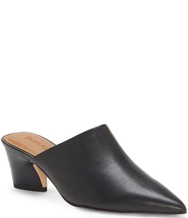 エンゾーアンジリーニ レディース サンダル シューズ Margot Leather Block Heel Pointed Toe Mules Black
