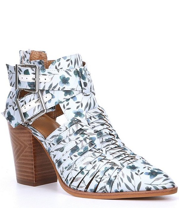 ジービー レディース ブーツ・レインブーツ シューズ Wrapped-Up Floral Print Cut Out Block Heel Booties Lotus Leaf