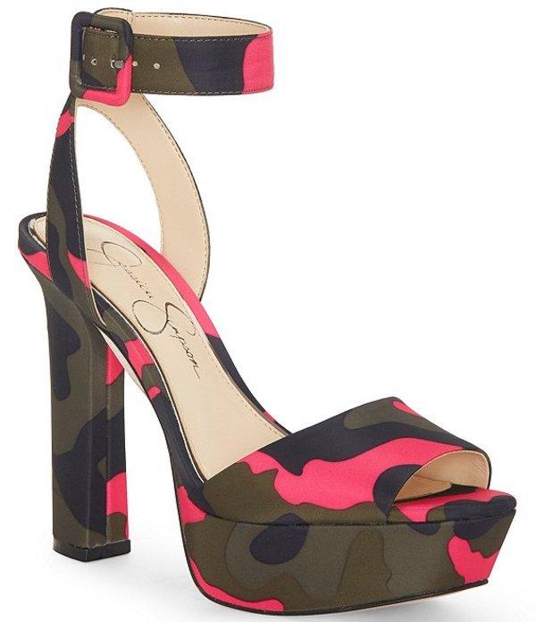 ジェシカシンプソン レディース サンダル シューズ Maicie Camo Print Platform Dress Sandals Pink Camo