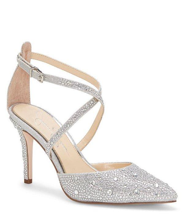 ジェシカシンプソン レディース ヒール シューズ Ambrie2 Glitter Jewel Embellished Stiletto Pumps Silver