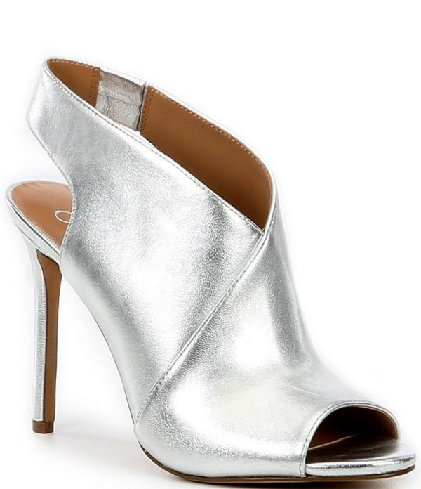ジェシカシンプソン レディース ブーツ・レインブーツ シューズ Jourie2 Metallic Leather Peep Toe Stiletto Shooties Platinum