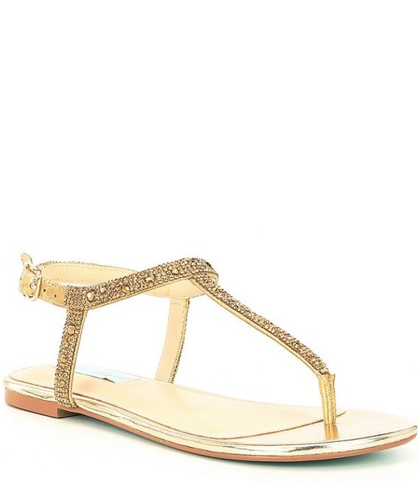 ベッツィジョンソン レディース サンダル シューズ Blue by Betsey Johnson Lux Rhinestone Embellished T-Strap Sandals Gold
