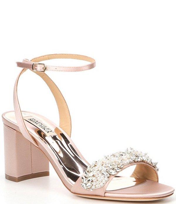 バッジェリーミシュカ レディース サンダル シューズ Clara Jewel Embellished Satin Dress Sandals Blush