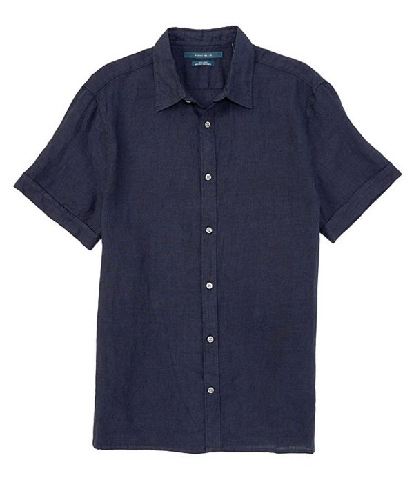 ペリーエリス メンズ シャツ トップス Solid Untucked Short-Sleeve Linen Woven Shirt Navy