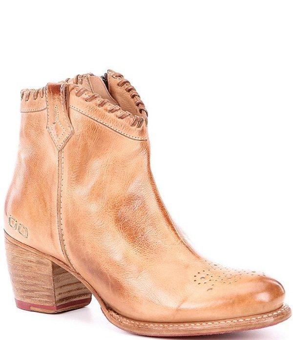 ベッドステュ レディース ブーツ・レインブーツ シューズ Cinthya Whipstitched Leather Western Booties Tan DD
