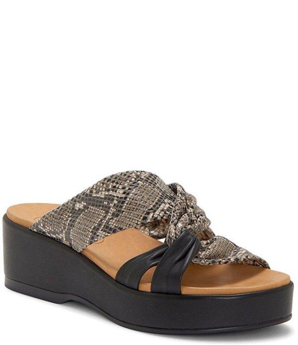 コルソ コモ レディース サンダル シューズ Wynnter Snake Print Leather Platform Slide Sandals Natural