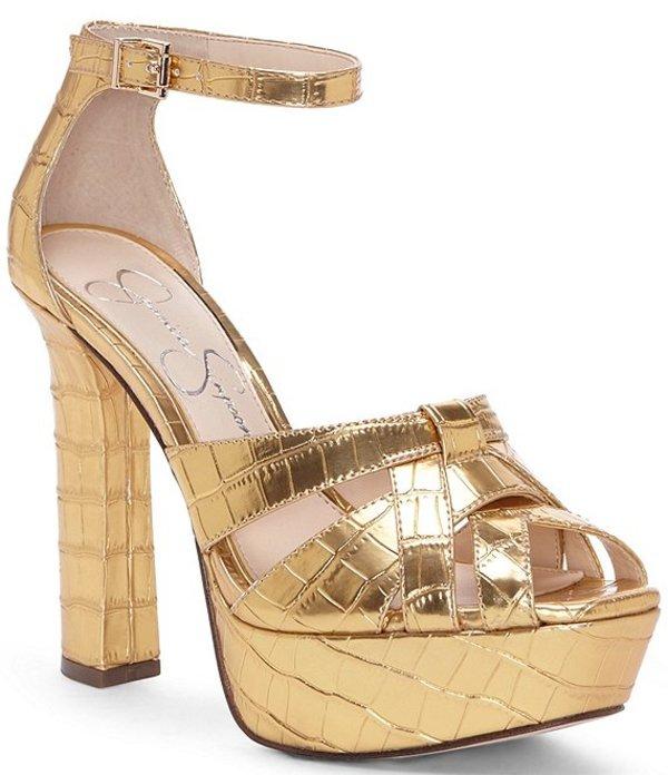 ジェシカシンプソン レディース サンダル シューズ Mishka Metallic Croco Embossed Platform Dress Sandals Gold