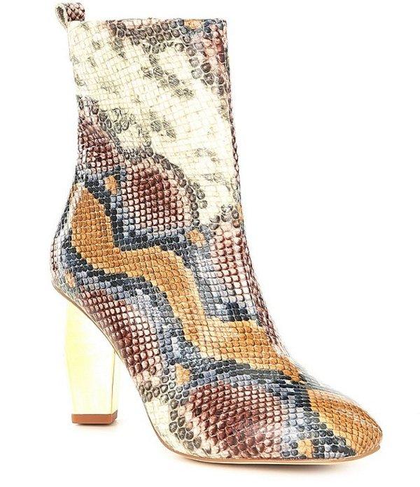 カートジェイガー レディース ブーツ・レインブーツ シューズ Daxon Snake Print Leather Geometric Heel Booties Brown