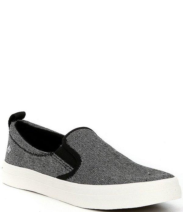 スペリー レディース スリッポン・ローファー シューズ Crest Twin Gore Sparkle Stripe Linen Slip-On Sneakers Black