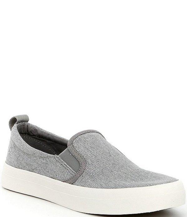 スペリー レディース スリッポン・ローファー シューズ Crest Twin Gore Sparkle Stripe Linen Slip-On Sneakers Grey