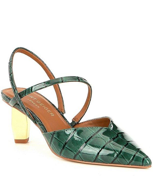 カートジェイガー レディース ヒール シューズ Della Croco Print Leather Slingback Geometric Heel Pumps Dark Green Croco