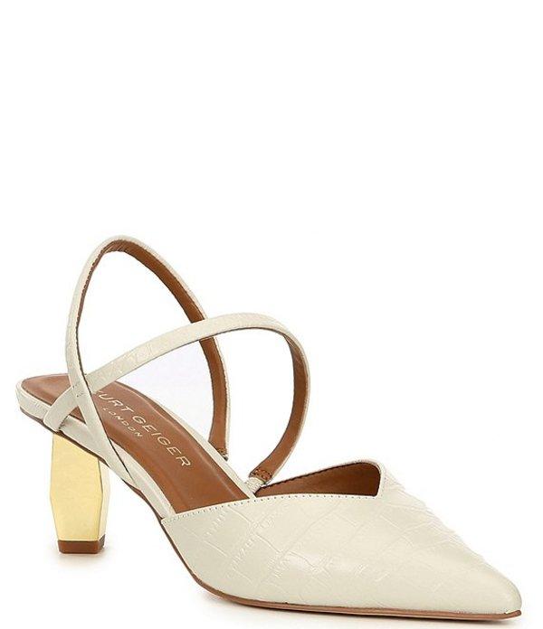 カートジェイガー レディース ヒール シューズ Della Croco Print Leather Slingback Geometric Heel Pumps Natural Croco
