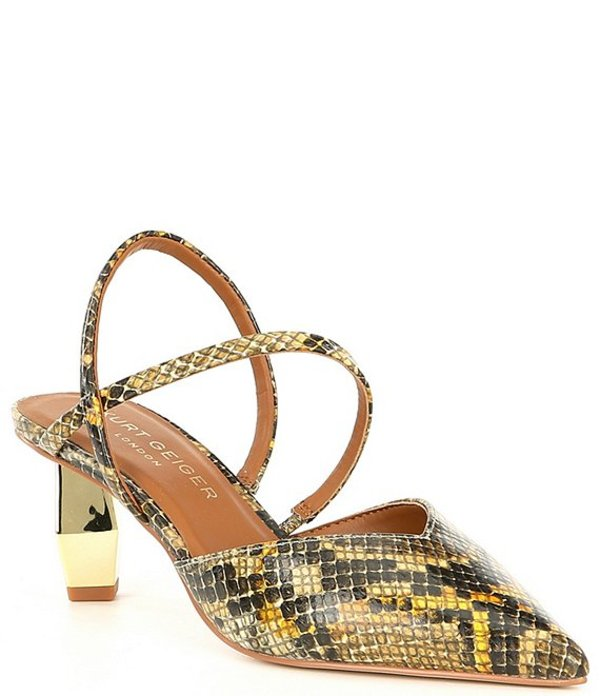カートジェイガー レディース ヒール シューズ Della Snake Print Leather Slingback Geometric Heel Pumps Yellow Snake