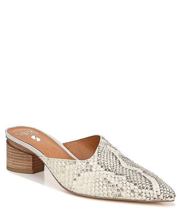 フランコサルト レディース ブーツ・レインブーツ シューズ Sarto By Franco Sarto Visa Snake Skin Print Leather Block Heel Mules Natural