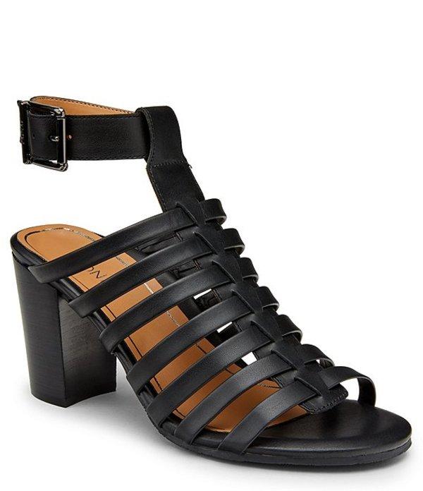 バイオニック レディース サンダル シューズ Sami Leather Block Heel Dress Sandals Black