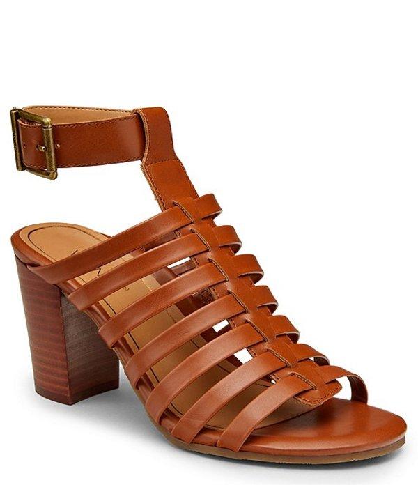 バイオニック レディース サンダル シューズ Sami Leather Block Heel Dress Sandals Cognac