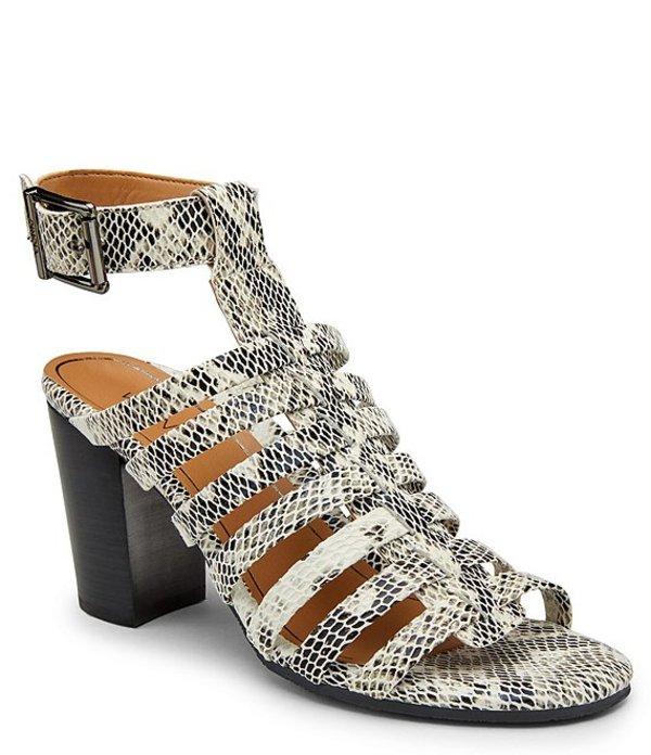 バイオニック レディース サンダル シューズ Sami Snake Print Leather Block Heel Dress Sandals White Black