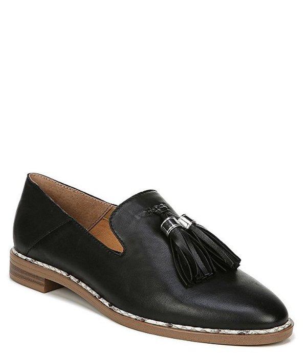 フランコサルト レディース スリッポン・ローファー シューズ Hadden Leather Tassel Round Toe Stacked Heel Loafers Black