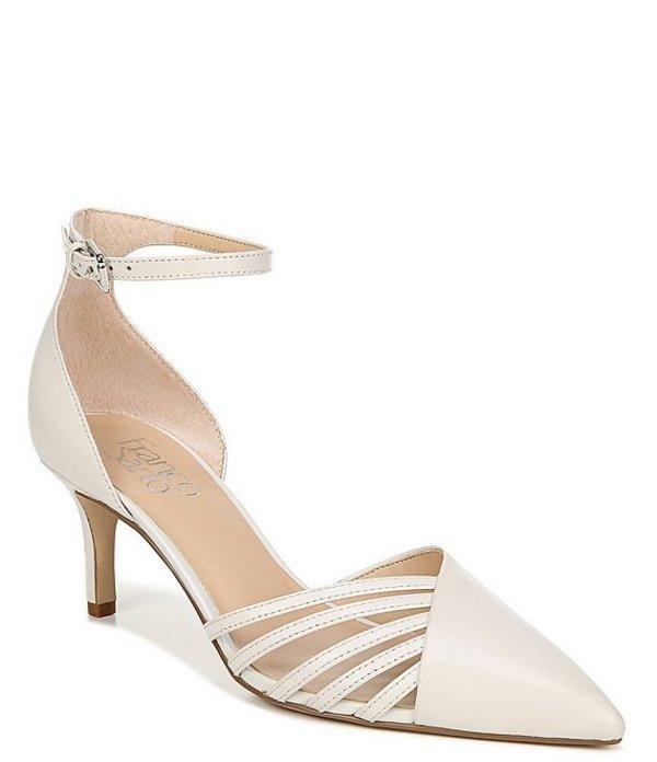フランコサルト レディース ヒール シューズ Talana Leather Ankle Strap d'Orsay Cut Out Pointed Toe Pumps Putty