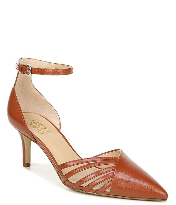 フランコサルト レディース ヒール シューズ Talana Leather Ankle Strap d'Orsay Cut Out Pointed Toe Pumps Tan
