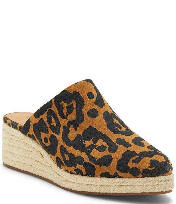 ラッキーブランド レディース サンダル シューズ Luceina Leopard Print Suede Wedge Espadrille Mules Natural Leopard