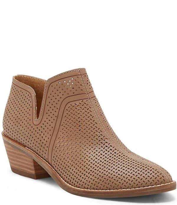 ラッキーブランド レディース ブーツ・レインブーツ シューズ Feyan Perforated Leather Block Heel Booties Dove