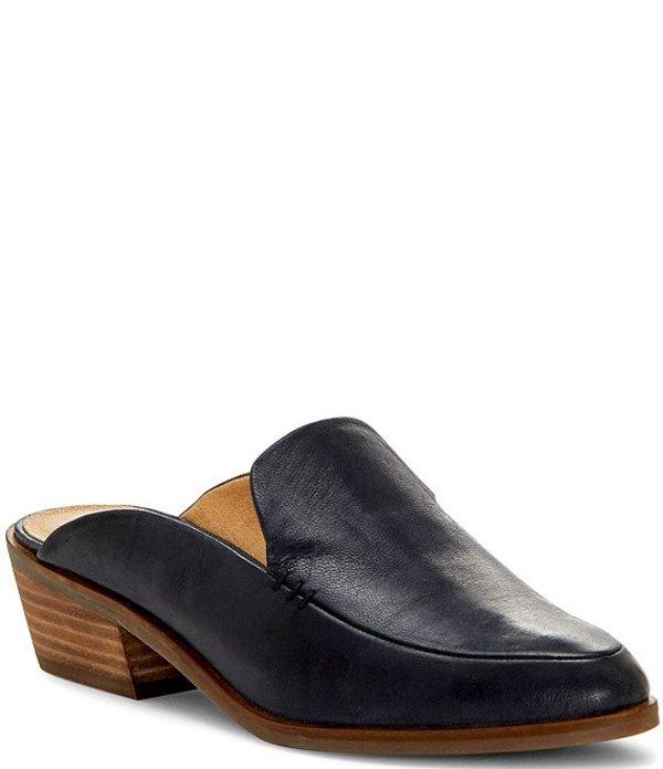 ラッキーブランド レディース サンダル シューズ Margrete Leather Stacked Heel Loafer Mules Black