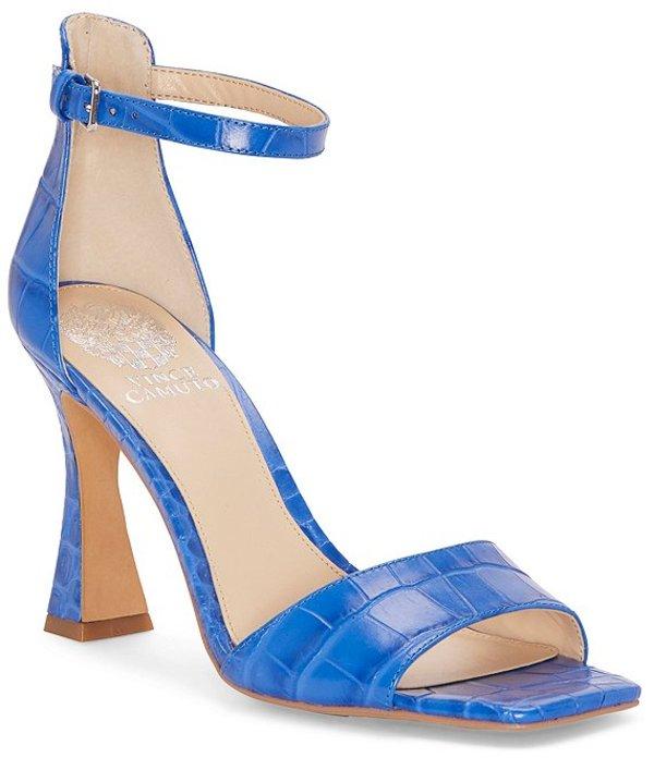 ヴィンスカムート レディース サンダル シューズ Reesera Croco Print Leather Square Toe Dress Sandals Pool Blue