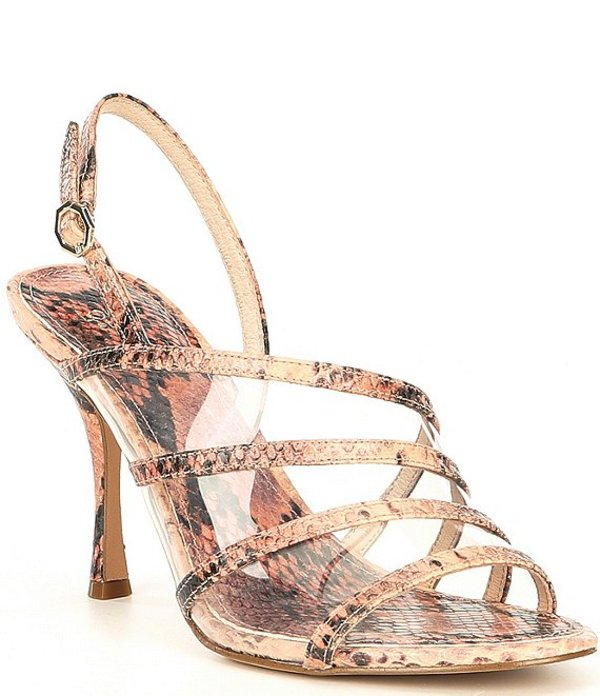 ルイスエシー レディース サンダル シューズ Nabila Snake Print Clear Slingback Stiletto Dress Sandals Rosina Multi/Clear