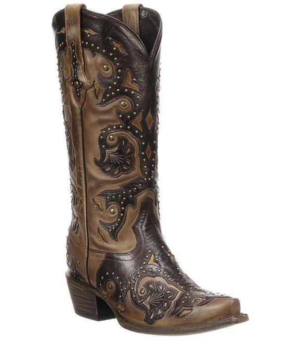 ルチーズ レディース ブーツ・レインブーツ シューズ Fiona Studded Leather Western Boots Cafe Brown/Chocolate