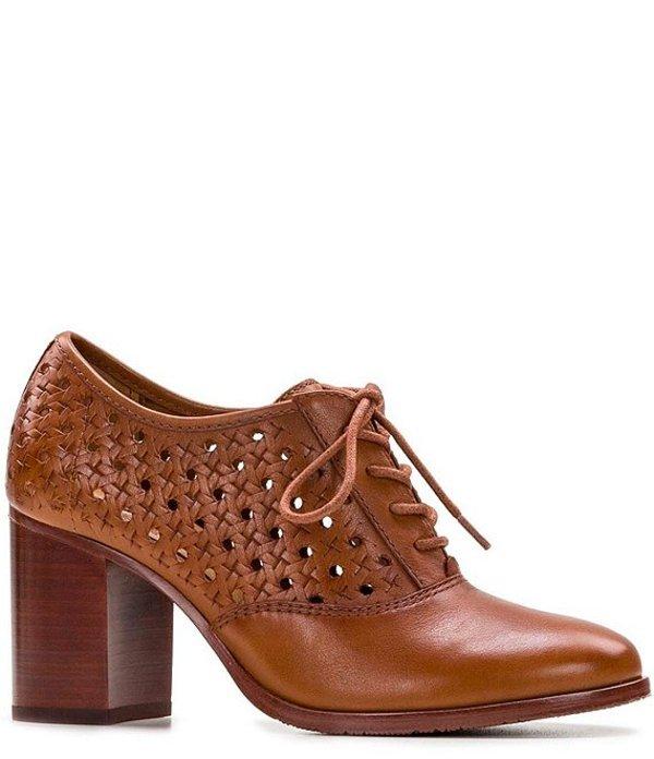 パトリシアナシュ レディース オックスフォード シューズ Parma Woven Leather Oxford Block Heel Pumps Sienna Brown