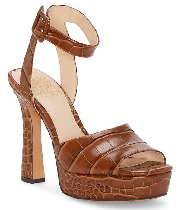 ヴィンスカムート レディース サンダル シューズ Kortinta Croco Embossed Leather Platform Dress Sandals Scotch Croco