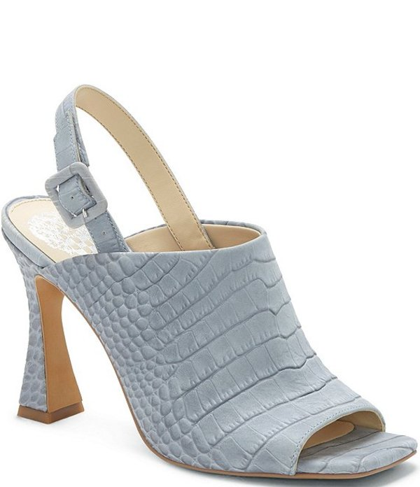ヴィンスカムート レディース サンダル シューズ Releen Croco Embossed Leather Square Toe Dress Sandals Light Blue Croc