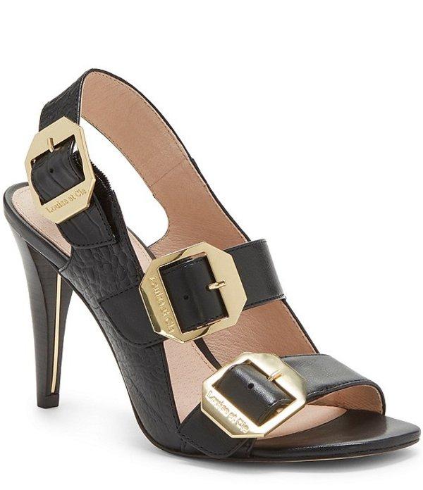 ルイスエシー レディース サンダル シューズ Khalon Croco Embossed Leather Buckle Detail Square Toe Dress Sandals Black