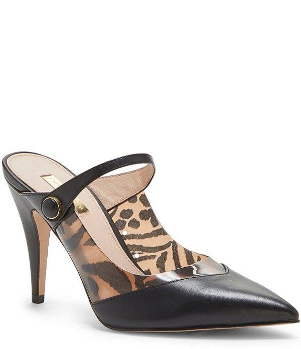 ルイスエシー レディース サンダル シューズ Joykiss Leather and Animal Print Pointed Toe Mules Black/Leopard
