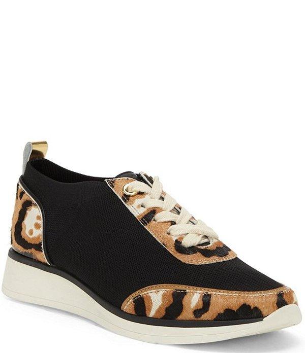 ルイスエシー レディース ドレスシューズ シューズ Bayard3 Knit and Leopard Print Haircalf Colorblock Sneakers Black Leopard