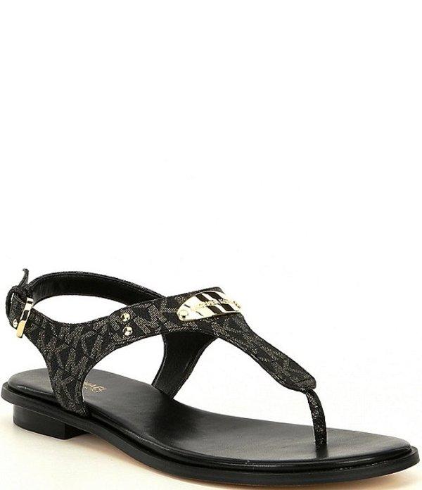 マイケルコース レディース サンダル シューズ Logo Print MK Plate Thong Sandals Black/Gold